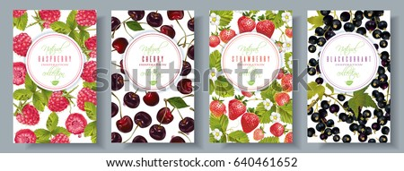 Vector berry vertical banners set. Raspberry, cherry, strawberry, black currant. Design for sweets and pastries filled with berry, candy, dessert menu, health care products. With place for text
