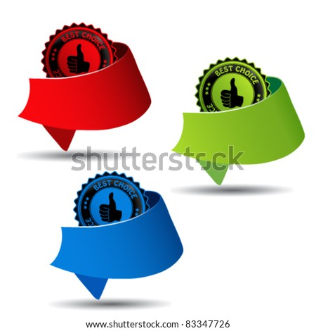 Vector best choice guaranteed labels - stock vector