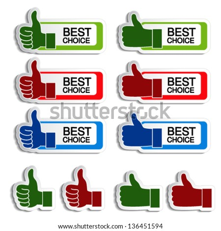 Vector best choice stickers with gesture hand
