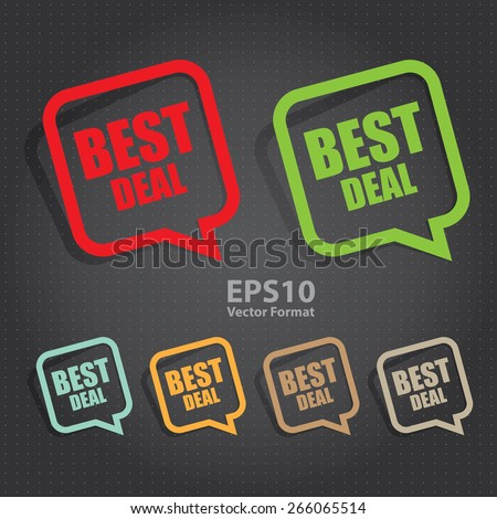 vector : best deal speech bubble, speech balloon, sticker, sign, icon, label