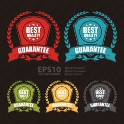 Vector : Best Quality Guarantee Wheat Laurel Wreath, Ribbon, Label, Sticker or Icon