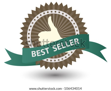 Vector Best Seller label with red ribbon.