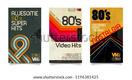Vector beta tape and cassette box old graphic in 80s style. Awesome super video hits. VHS effect. 80's and 90's style. Retro vintage cover. Eighties color letters. Easy editable design template.
