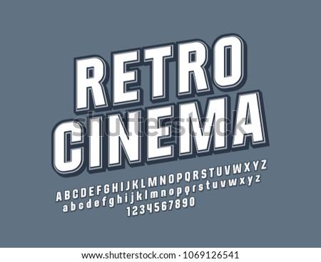 Vector Beveled Sign Retro Cinema Stylish Font Vintage Design Alphabet Letters Numbers And