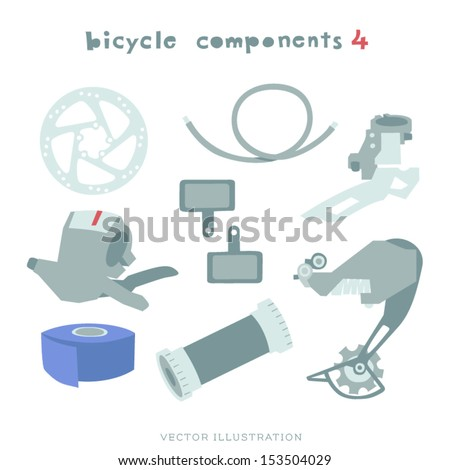 Vector Bicycle components Illustration. Derailleurs, Brake disc, Brake pads, Cable, Handlebar Tape, Gear Shifter and Bottom Bracket.