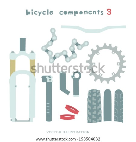 Vector Bicycle components Illustration. Fork, Seatpost, Bar Ends, Tires, Plate, Chain, Handset Spacers and Handlebar.