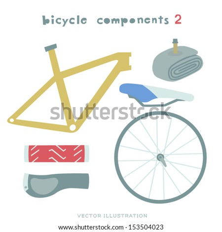 Vector Bicycle components Illustration. Frame, Wheel, Saddle. Grips and Tube.