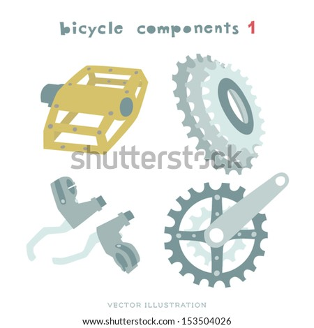 Vector Bicycle components Illustration. Pedal, Brakes, Cassette and Cranksets.