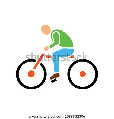 vector Bicycle illustration - ride cycle symbol, exercise sign symbol - riding bike icon