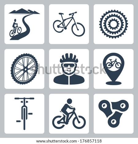 vector bicycling  cycling icons