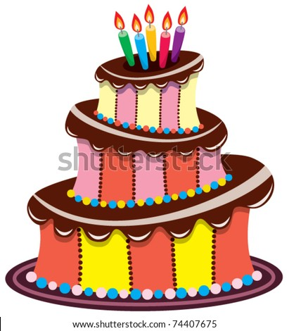 vector big birthday chocolate cake with burning candles