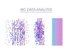 Vector Big data Analysis Illustration: Information Analytics for Smart Business Plan, Minimalistic Design Infographics.