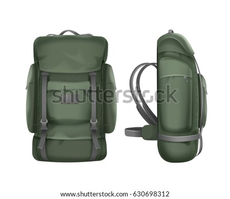 Vector big green travel backpack front and side view isolated on white background