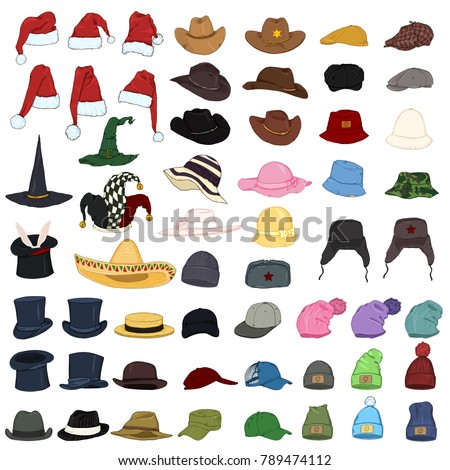 Vector Big Set of Cartoon Color Hats and Caps. 57 Headwear Items.