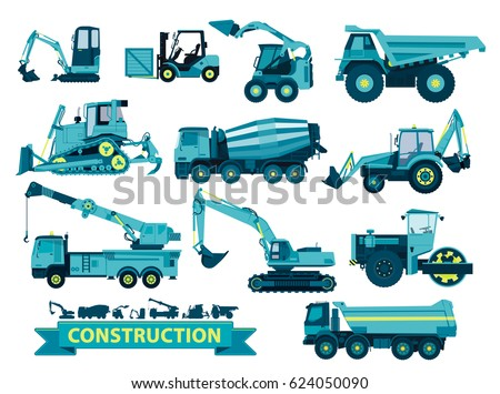 Vector Big Set of Ground Works, Blue Building Machines Vehicles Construction Equipment for Building. Truck Digger, Crane, Forklift, Bagger, Mixer, Steamroller, Excavator. Transportation Machinery.