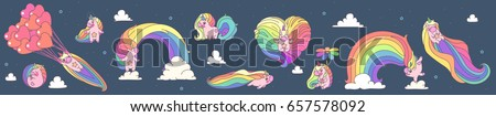 vector big unicorns set