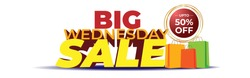 Vector Big Wednesday Sale banner, upto 50% off, shopping bags, offer promotion template for website and social media.