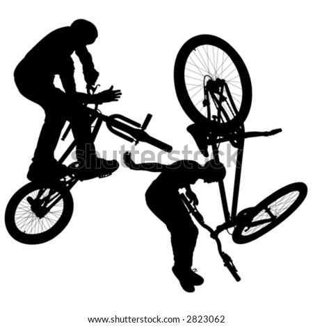 vector bike silhouettes - stock vector