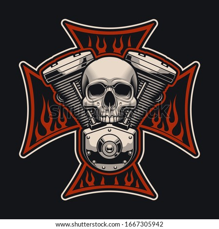 Vector biker's cross with a motorcycle engine. This illustration can be used as a logo, apparel designs and many other uses.