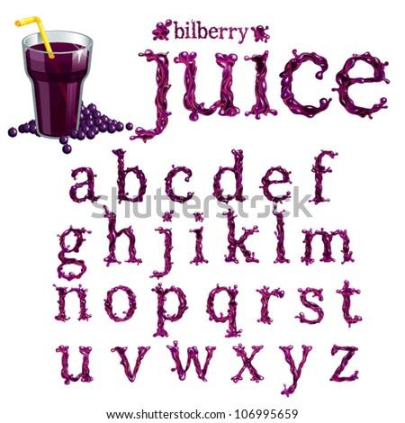 Vector bilberry  juice serif font, abc a-z