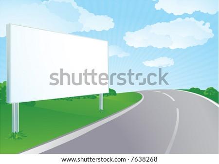 Vector Billboard at the road. Summer.