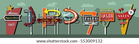 Vector Billboards Signboards Set American Design Style