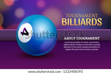 Stock Photo Vector Billiard poster. 3d realistic billiard ball banner illustration.