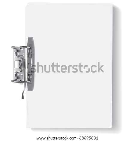 Vector binder metal clip and stack of paper sheets(CMYK)