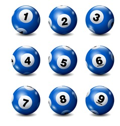 Vector Bingo / Lottery Number Balls Set on White Background-Blue 1 to 9