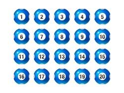 Vector Bingo / Lottery Number Balls Set 1 to 20