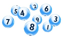 Vector Bingo / Lottery Number Blue Balls 1 to 9 Set Isolated on White Background
