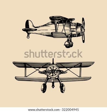 vector biplane vector vintage