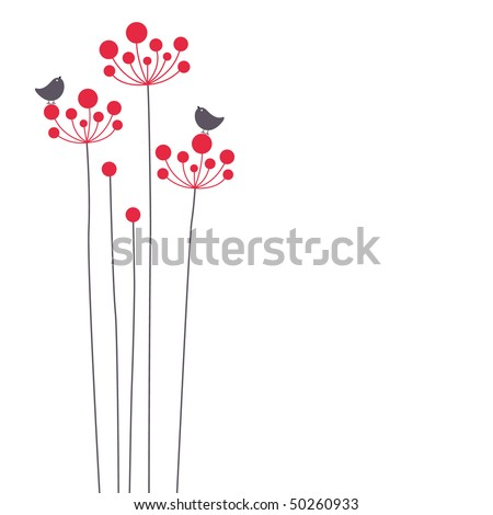 vector bird and flower