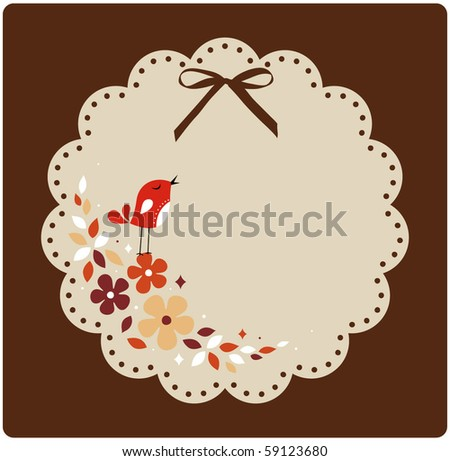 vector bird and flower card
