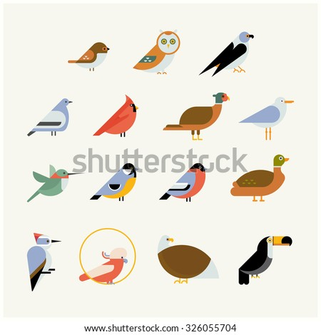 vector bird icon collection