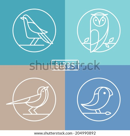 vector bird icons in outline