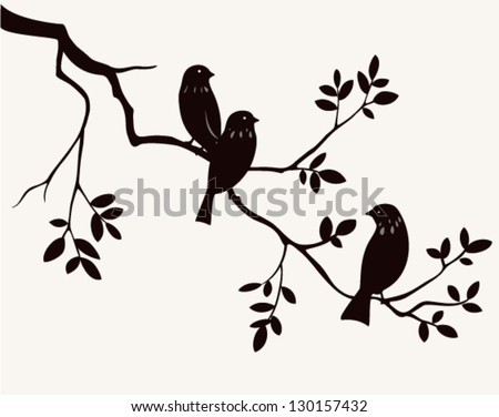 vector birds on twig silhouette