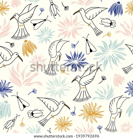 vector birds with flowers and