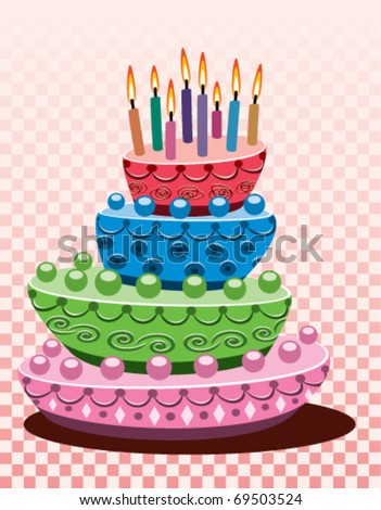 vector birthday and cake with burning candles
