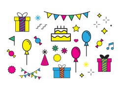 Vector birthday and party elements