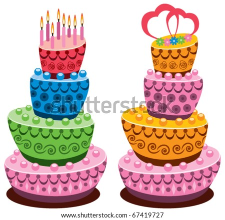 vector birthday and wedding cakes with burning candles and hearts