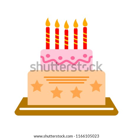 vector birthday cake illustration, dessert icon - holiday celebration, bakery symbol