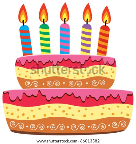vector birthday cake with burning candles