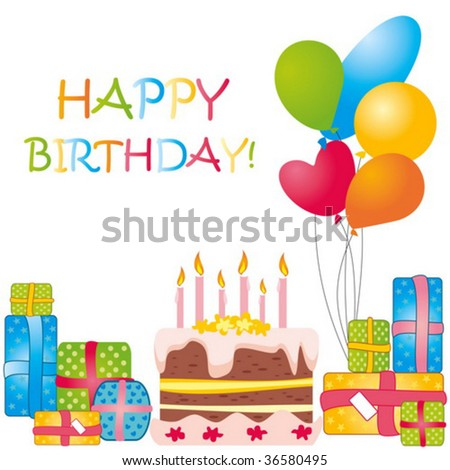 Vector Birthday Card - 36580495 : Shutterstock