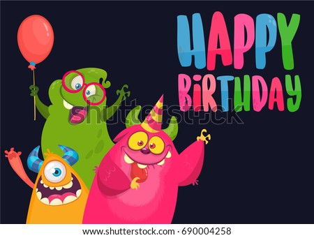 Monster Birthday Card Download Free Vector Art Stock Graphics