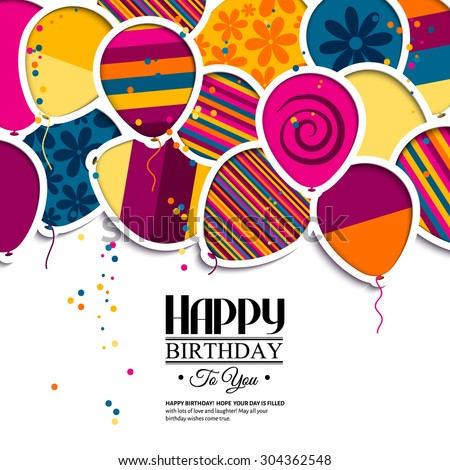 vector birthday card with paper