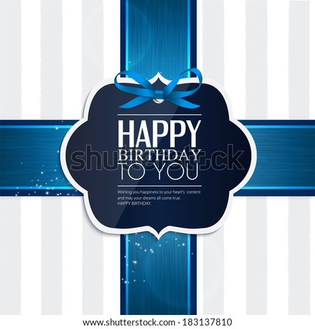 Vector birthday card with ribbon and birthday text
