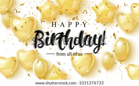 Vector birthday elegant greeting card with gold balloons and falling confetti