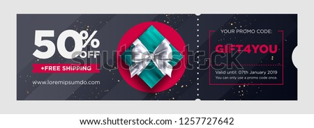 Vector Birthday Gift Coupon. Elegant Christmas Voucher Design. Premium eGift Card Background for E-commerce, Online Shopping. Marketing Business Flyer Template Design, Social Media Graphic.