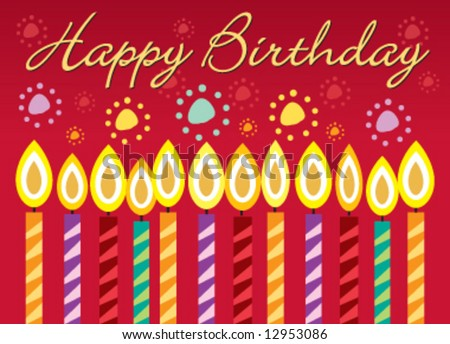 Vector birthday greeting card with candles - stock vector